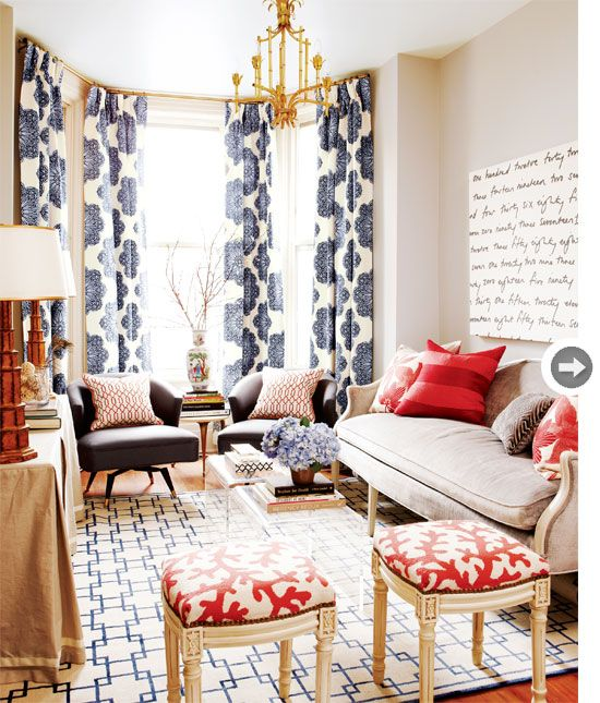 Patterned drapes hung ceiling to floor. Mix and Chic: Home tour- A stylish Victorian rowhouse in Toronto!