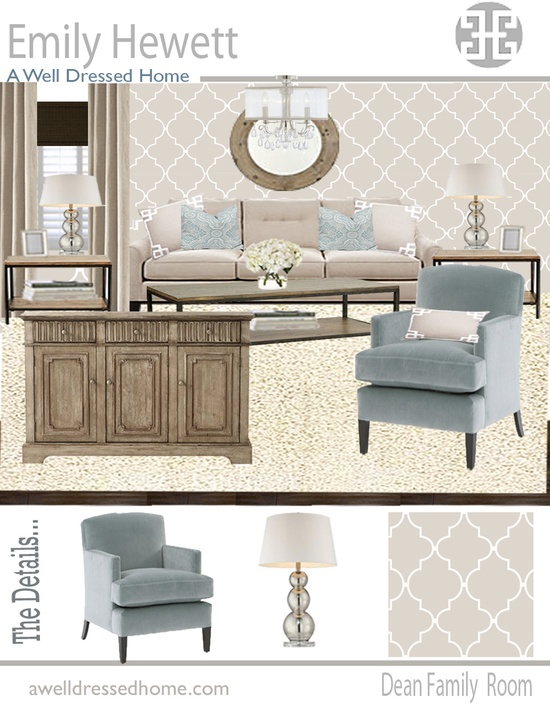 My living room design board