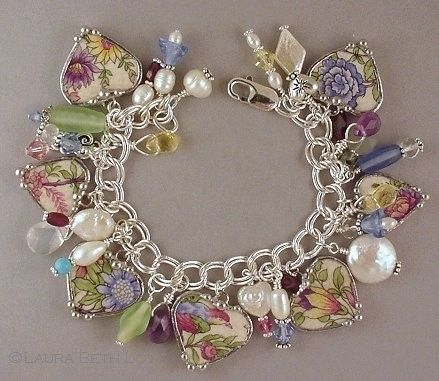 Broken China and Silver Heart Charm Bracelet