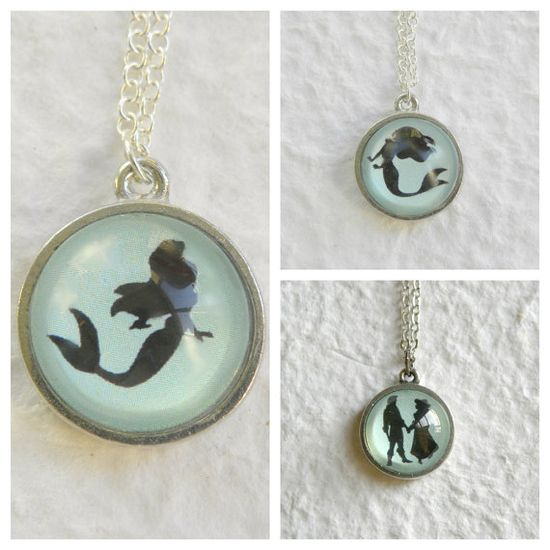 Ariel Silhouette Double Sided Petite Disney Princess Necklace - Inspired from Disney's The Little Mermaid on Etsy, $22.50