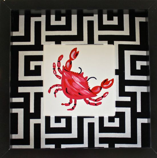 Mini Red Crab Beach Art by LemondaisyDesign on Etsy, $48.00