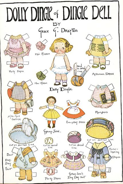 In 1913,Grace Gebbie Wiederseim  created  'Dolly Dingle'. She appeared in the Pictorial Review. With her shoe-button eyes & curls, Dolly Dingle skipped into America's hearts.  Over the next 20 years, Drayton would create more than 200 paper dolls in the Dolly Dingle series. Prior to 1926, the paper dolls were printed in full color. Dolly Dingle's adventures included travelling around the world to visit children of distant lands, including such characters as Beppo and Prince Dalim Kumar.
