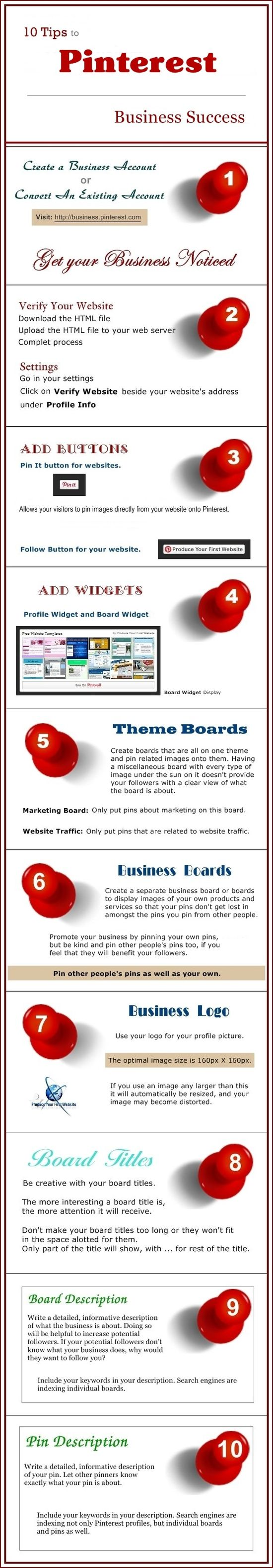 10 Tips to Pinterest Business Success – Infographics