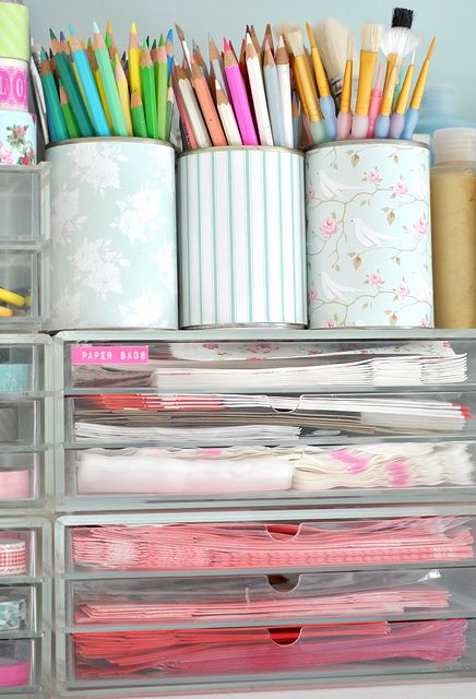 DIY:  Click on 101 ways to get pretty organized - for  stylish ways to organize your craft space.
