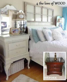 before and after of bedside table