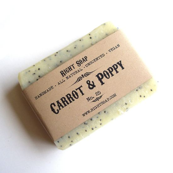 Natural soap  Carrot and Poppy  Scrub Soap  Vegan by RightSoap