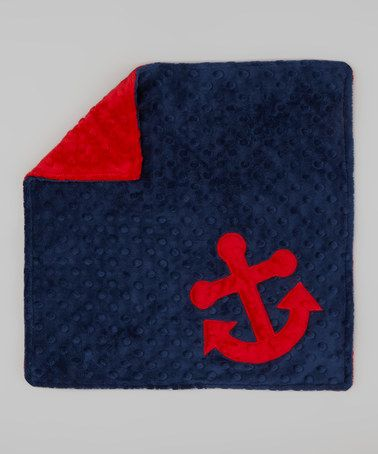 Take a look at this Navy & Red Anchor Minky Lovey by Lolly Gags on #zulily today!