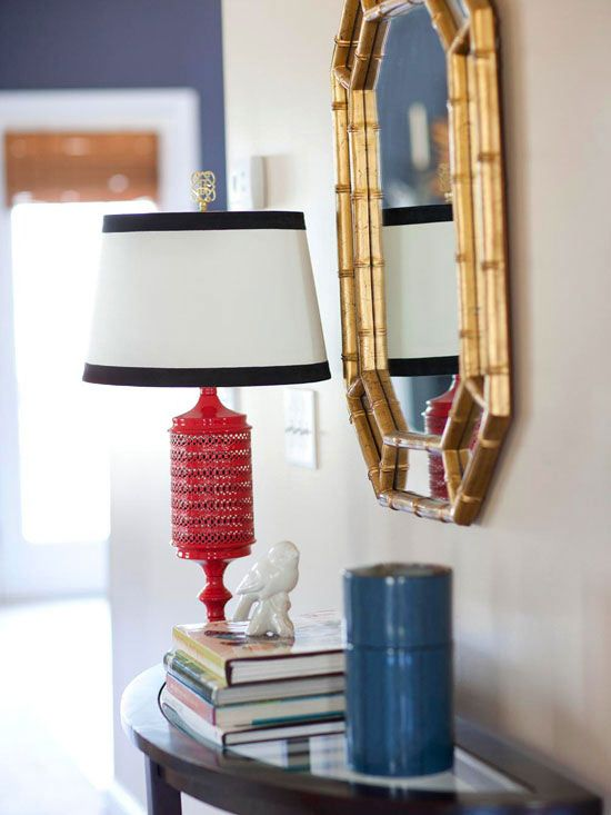 Foyer console table, mirror and red lamp (BH&G)