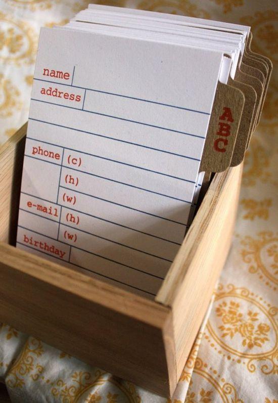 Library Card...Address Book. Love it! #paper #organize #address book