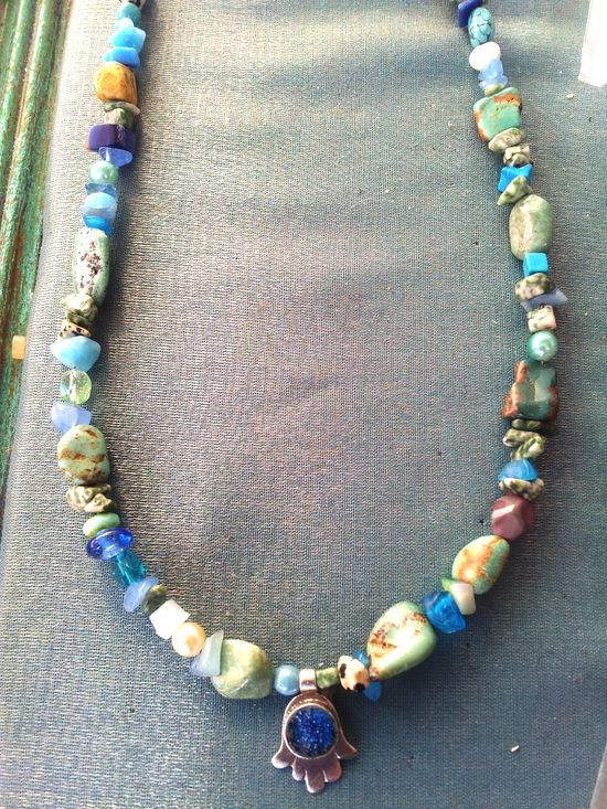 Israeli jewelry roman glass pendant gemstones necklace