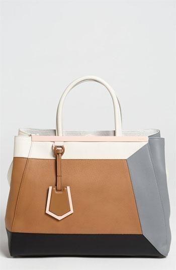 Colorblock obsession: Fendi '2Jours 3D' Leather Shopper Handbag