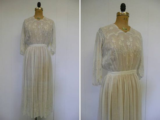 Edwardian Wedding Dress 1910s Embroidered by CreatedAndCollected, $325.00