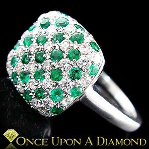 White Gold 1.12ctw Diamond & Emerald Cluster Checkerboard Style Cocktail Ring Buy It Now $2995.00