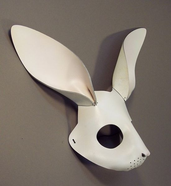 Rabbit leather mask in white