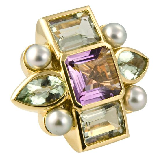 Tony Duquette Amethyst, Green Amethyst and Black Pearl Ring