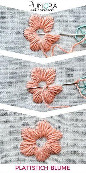 Blumen sticken: Plattstich-Blumen Tutorial #sticken #handarbeit