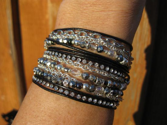 Boho  CHROME  Endless Leather Wrap Bracelet  Black by fleurdesignz