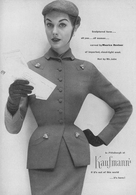 Love her (corseted no doubt) hourglass shape. #vintage #fashion #1950s #suit