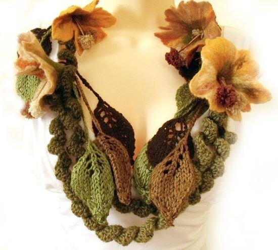 Scarf ... Hand felted flowers and knitted leaves