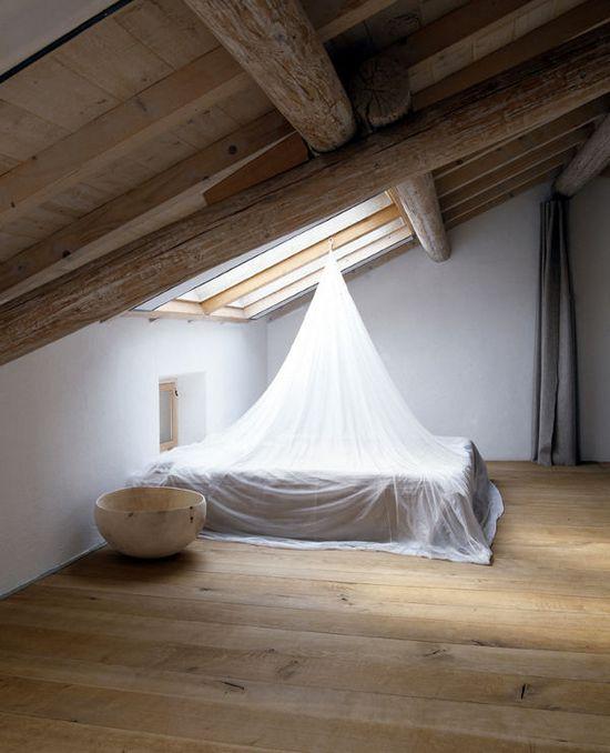 = loft space with skylight