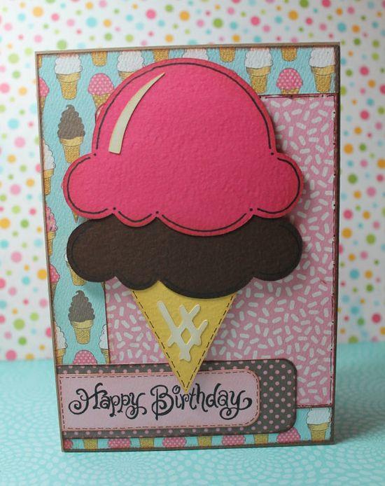 Handmade Ice Cream Cone Birthday Card by OhScrapPaperScissors, $5.00