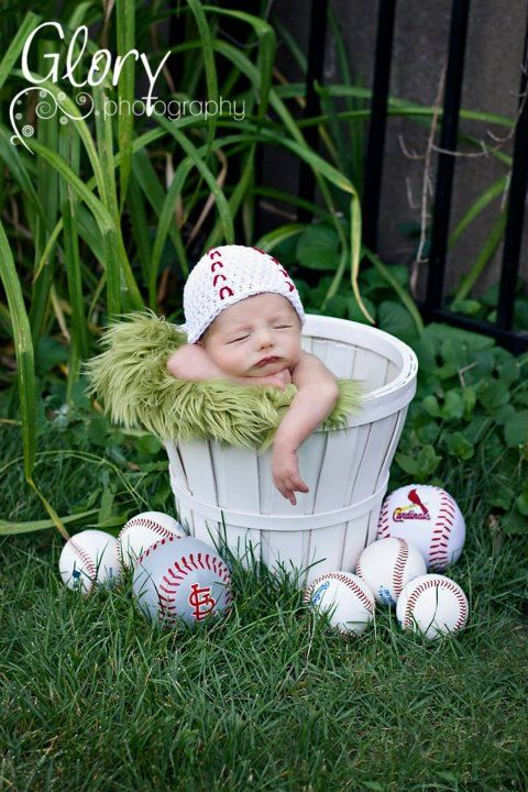 Baseball Beanie, newborn or 0-3 months. $18.00, via Etsy.