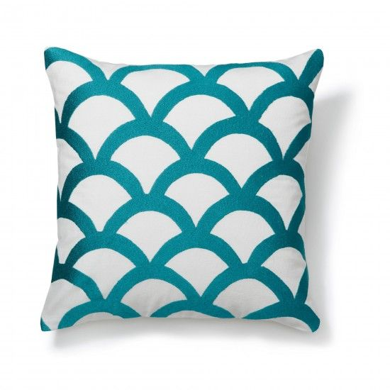 Embroidered Wave Pillow Cover