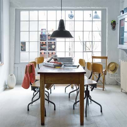 window + industrial chairs/pendant light