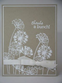 handmade card ... kraft base ... cleand and simple design ... silhouette flowers in white ... lovely card!!