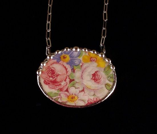 Broken china jewelry oval necklace by Dishfunctional Designs. Made from a broken plate