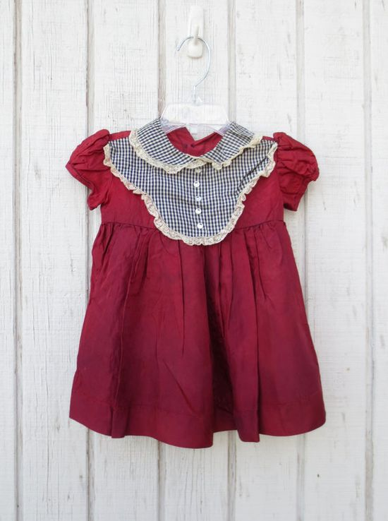 Vintage 50's Baby Dress Baby Clothes Girl Maroon by kerrilendo, $17.00
