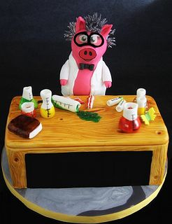 Mad Scientist Pigenstine-3D Character and  Desk by butterflybakeshop, via Flickr