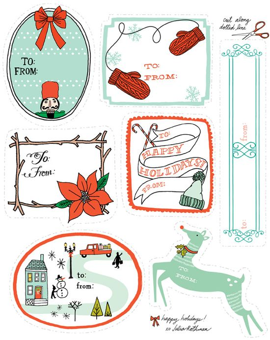 holiday gift tag --free printable