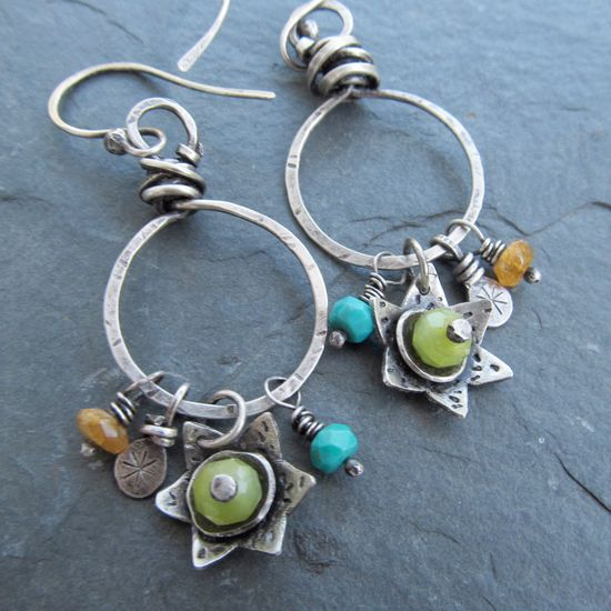 Wire Wrapped Silver Hoop Earrings Turquoise Flower Charms Dangling earrings green yellow gemstone. $90.00, via Etsy.