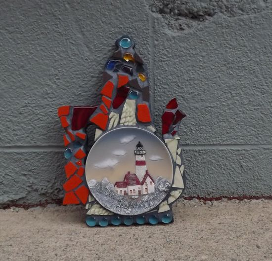 Lighthouse Mosaic Teapot by PiecesofhomeMosaics on Etsy, $42.00