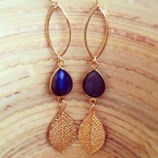 Fall Trend Jewelry Gold Leaf Earrings Labradorite by AinaKai, $68.00