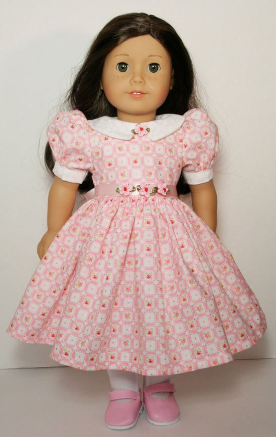 Pink Rose Check Dress for 18 American Girl Doll by CottonCandyClub, $22.00