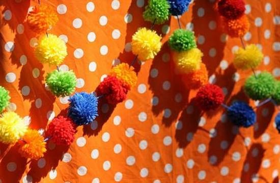 Carnival  Yarn Pom Pom Garland for party by CupcakeWishesStore, $25.00