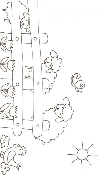 ❤ =^..^= ❤ coloriage des moutons derrière la barrière -Tête à modeler