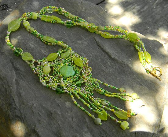 "Boho style freeform beaded necklace  ""First sprouts"""