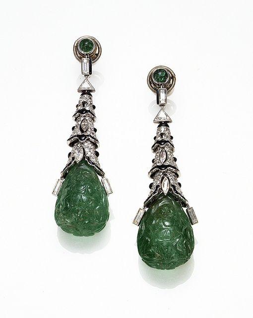 Cartier Paris Art Deco Emerald Onyx Diamond Earrings 1924