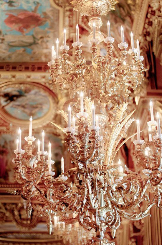 Gold Chandelier at the Opera Garnier, Paris,