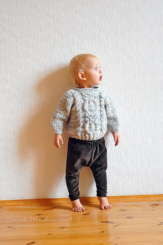 Baby Girl / Boy Harem Pants Brown super soft by SweetMeadowSweet