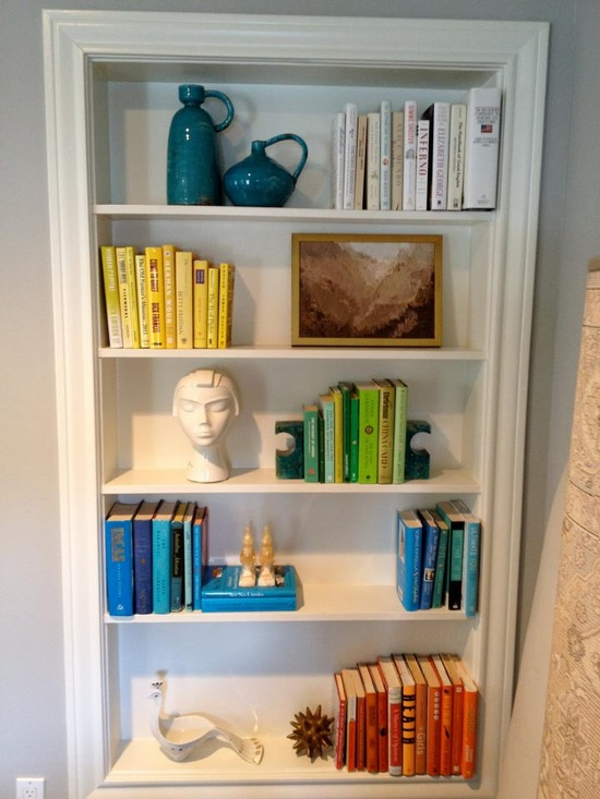 Sally Wheat, color coded bookshelf styling