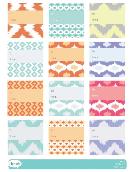free printable gift tags (retro, chevron, herringbone and ikat #hand made gifts #creative handmade gifts #do it yourself gifts