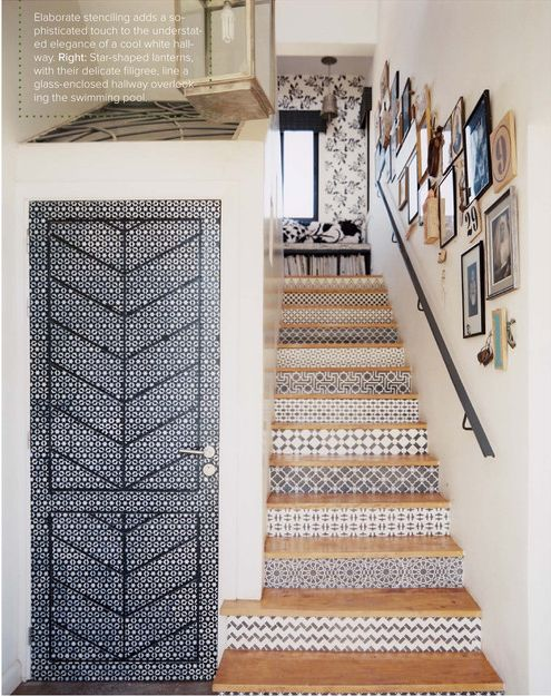 Stenciled door and stairs