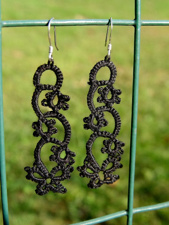 Black Shuttle Tatted Earrings (sterling silver hooks) by TheFruitOfHerHandz on Etsy, $18.00