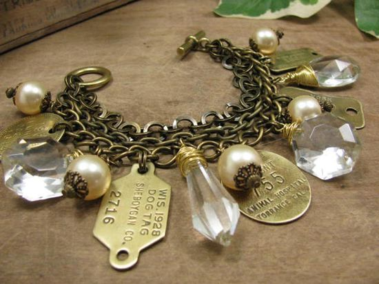 Upcycled Jewelry Vintage Chic Chunky Pearl