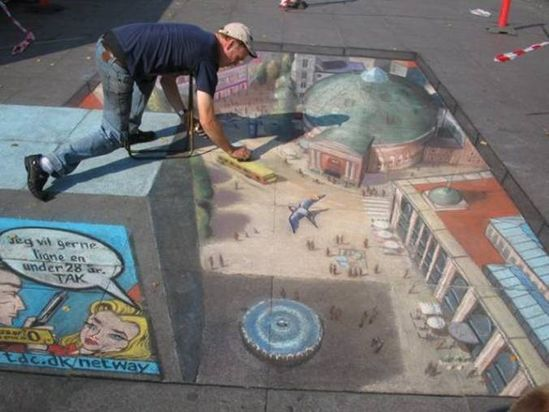 Street Painting Amazing Julian Beever 3D Chalk Drawings