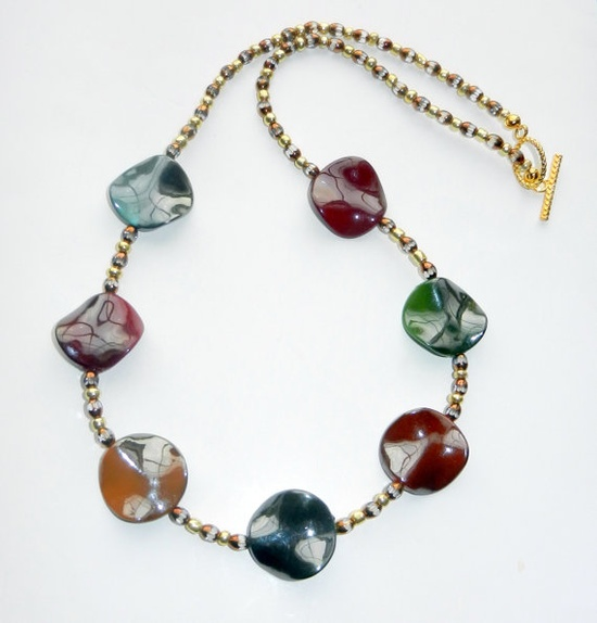 Multicolored Beaded Leaf Necklace Two Toned $30.00